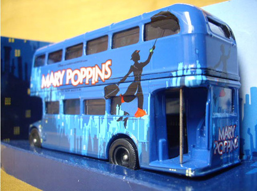 1:76 Scale Deep Blue Corgi MARY POPPINS Double-decker Bus Model