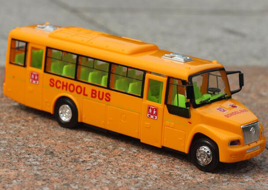 Kids 1:50 Scale Yellow Plastics Inertia School Bus Toy