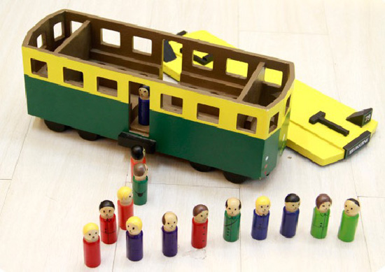 Large Scale Yellow-Green Kids Wooden City Bus Toy