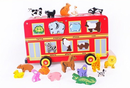 Kids Large Scale Red Animal Wooden Double-Decker Bus