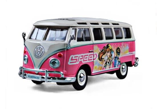 1:24 Scale White-Pink MaiSto VW Bus Model
