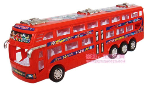 Kids Super Long Size Plastics Double-Decker Bus Toy