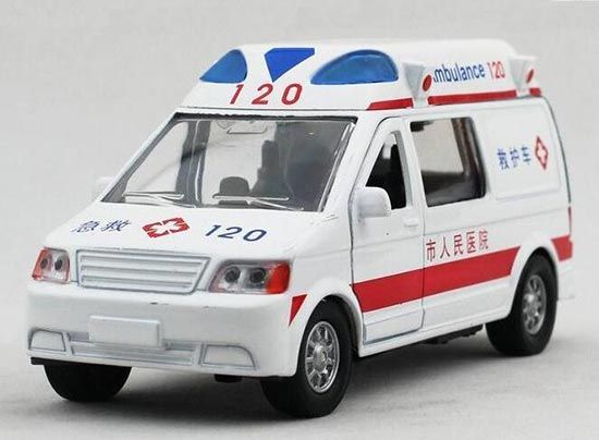Kids White 1:32 Scale Ambulance Bus Toy