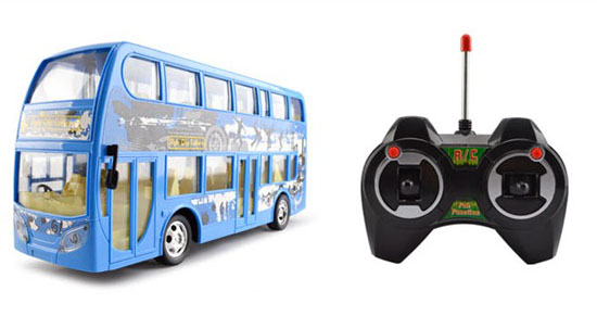 Kids Blue Full Function R/C Double-deck Bus Toy