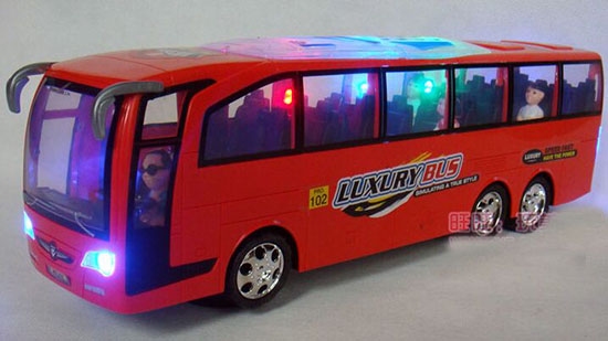 Large Scale Kids Red / White Electric Tour Bus Toy