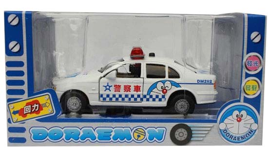 Mini Scale White Kids Doraemon Police Theme Car Toy