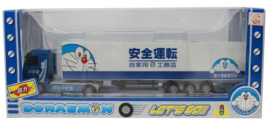 Kids White-Blue Pull-Back Function Doraemon Container Truck Toy