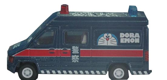 Kids Mini Scale Deep Blue Police Theme Doraemon Bus Toy