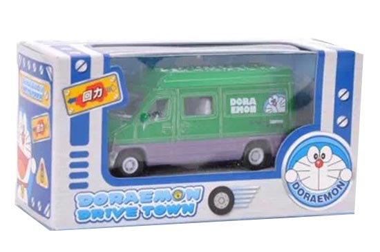 Mini Scale Kids Green Pull-Back Function Doraemon Bus Toy