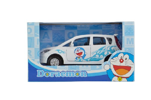 Kids White Pull-Back Function Doraemon Diecast Car Toy
