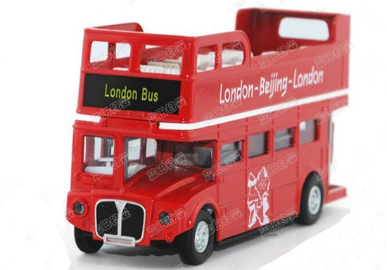 Kids Red 1:76 Scale London Double-Deck Bus Toy