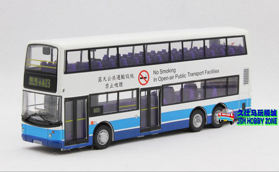 1:64 Scale White-Blue 80M Hong Kong Double-Decker City Bus