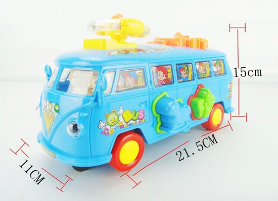Kids Sky Blue Plastics Electric Bus Toy