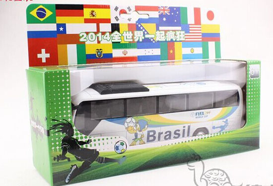 Kids White Die-Cast Brazil World Cup Theme Tour Bus Toy