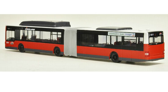 Red 1:87 Scale Rietze Man Lions Articulated City Bus Model