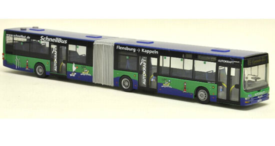 Blue-Green 1:87 Scale Rietze Man Lions Articulated City Bus