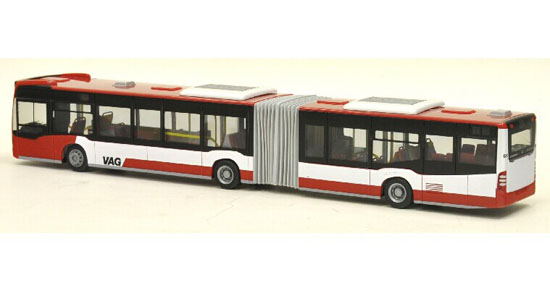 Red-White 1:87 Scale Mercedes-Benz Articulated Citaro City Bus