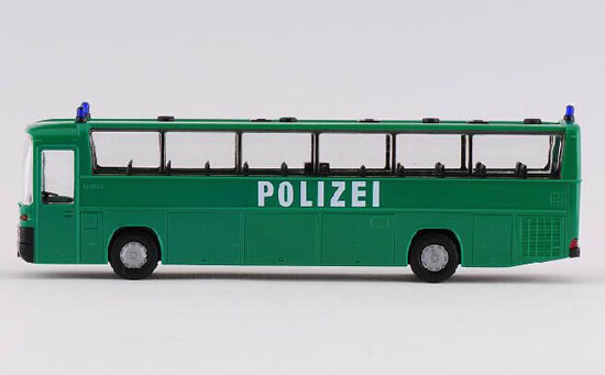 Green 1:87 Scale Rietze Police Theme Mercedes-Benz Bus Model