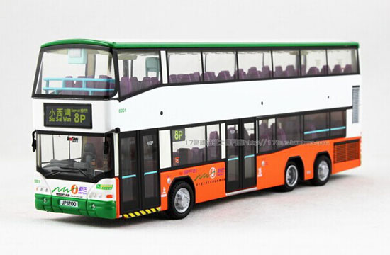 White 1:76 Scale NEOPLAN Hong Kong Double-Decker Bus Model