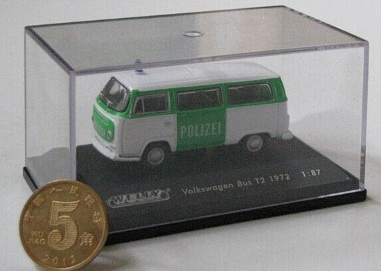 Green-White 1:87 Scale Welly 1972 VW T2 Bus Toy