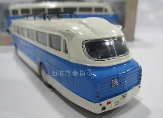 1:72 Scale Blue-White Die-Cast Ikarus 66 Bus Model