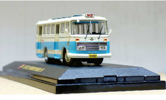 1:76 Scale Blue-White Die-Cast ShangHai SK640 Bus Model