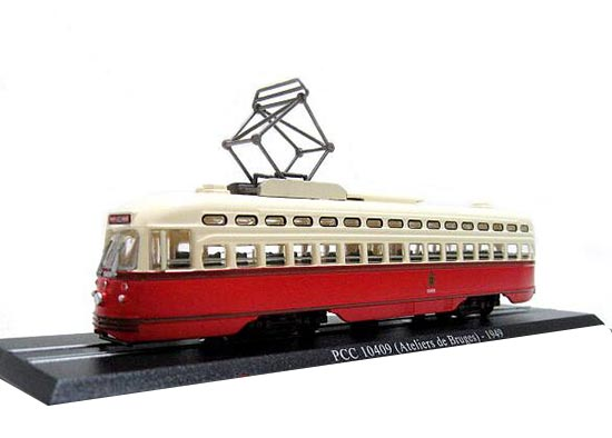 Red-White 1:87 Atlas PCC 10409 Atelies Bruges 1949 Tram Model