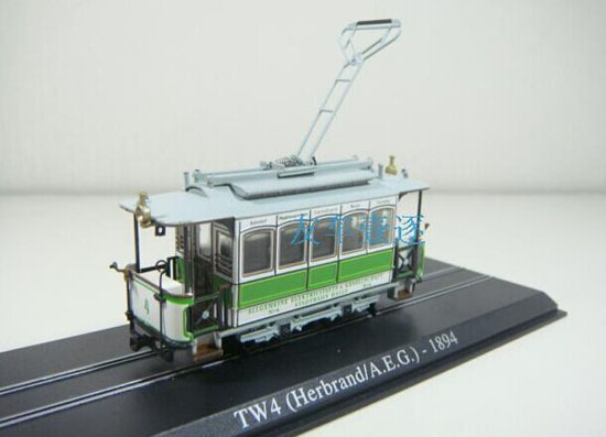Atlas 1:87 Scale Green-White TW4 Herbrand A.E.G 1894 Tram Model
