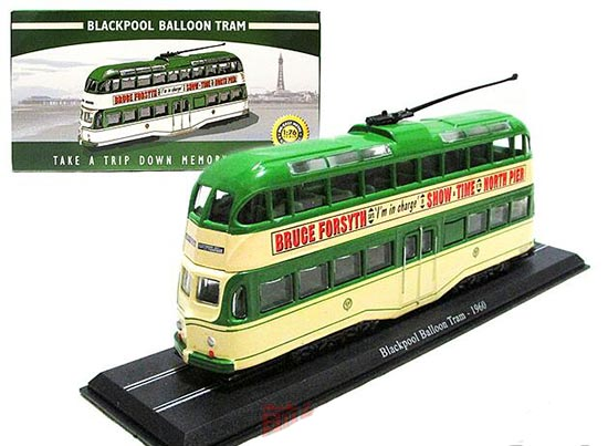 Green 1:76 Scale Atlas Blackpool Ballon Tram 1960 Model