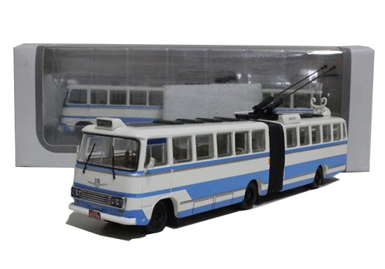 1:76 White-Blue Die-Cast ShangHai SK561GF Trolley Bus Model