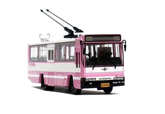 1:76 Pink NO.11 ShangHai SK5105GP Die-Cast Trolley Bus Model