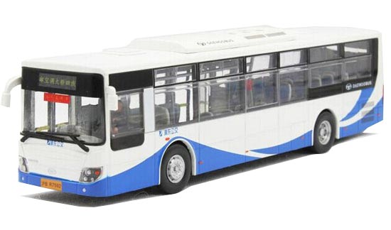 1:50 Scale Blue-White Die-Cast ShangHai Daewoo City Bus Model