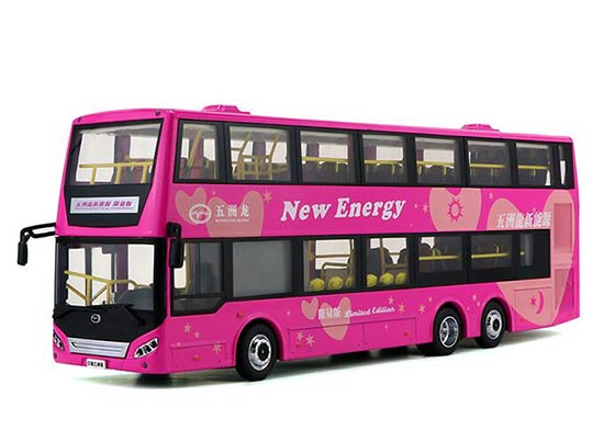1:42 Scale Pink Die-Cast WUZHOULONG Double-Deck Bus Model