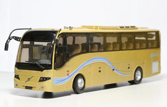 1:42 Scale White / Golden Die-Cast Volvo 9300 Silver Bus Model