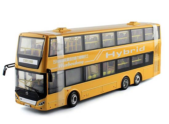 Green / Yellow 1:42 Die-Cast WUZHOULONG Double-Deck Bus Model