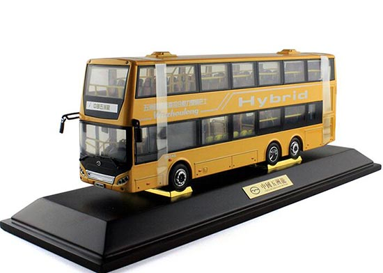 Yellow / Red 1:42 Scale Die-Cast WUZHOULONG Double-Deck Bus