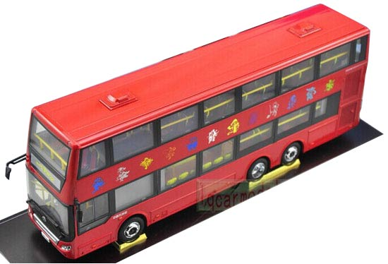 Red 1:42 Scale 12 Chinese Zodiac WUZHOULONG Double-Deck Bus