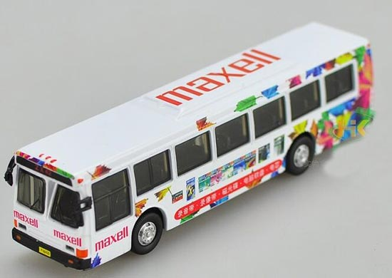 White 1:76 Scale MAXELL AD. Diecast FLXIBLE Bus Model