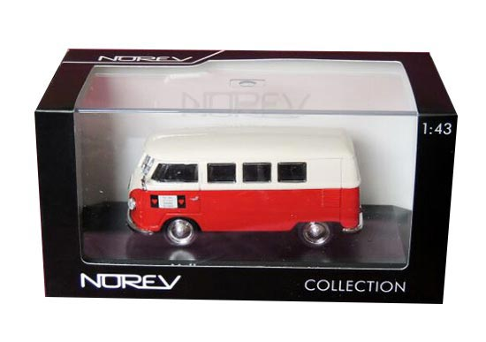 Red-White 1:43 Scale NOREV Die-Cast VW T1 Kombi Bus Model