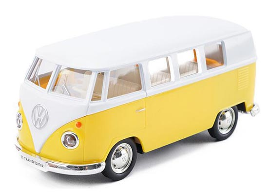 Pull-Back Kids Red / Yellow / Green Die-Cast VW Bus Toy