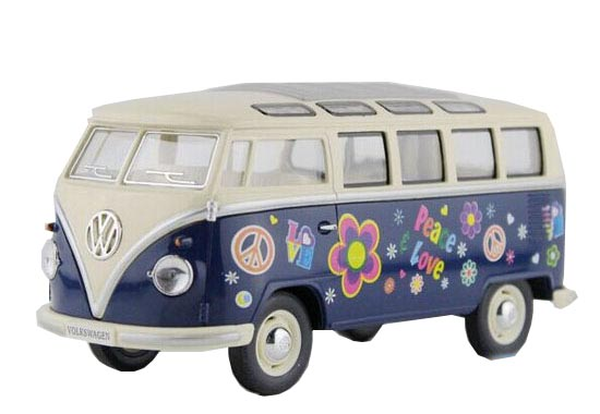 Kids Red / Blue / Green 1:24 Flower Patterns Die-Cast VW Bus Toy