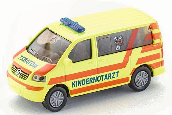 Yellow Mini Scale Kids SIKU 1462 VW Ambulance Bus Toy