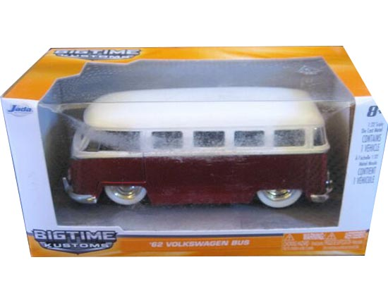 Kids 1:32 Scale Red-White JADA Brand Die-Cast VW Bus Toy