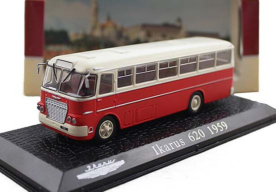 White-Red 1:72 Scale Atlas brand Die-Cast Ikarus 620 Bus Model