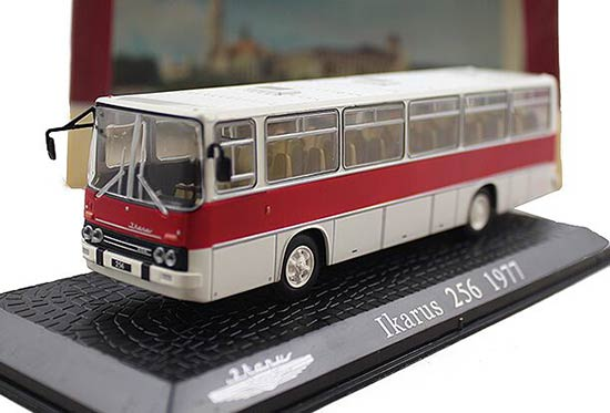 1:72 Scale White-Red Atlas Diecast Ikarus 256 Bus Model