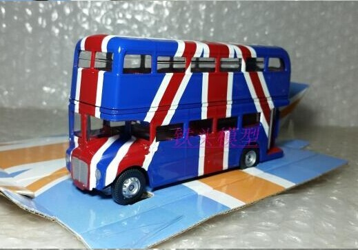 Blue 1:76 Corgi Die-Cast National Flag Double-Deck Bus Model