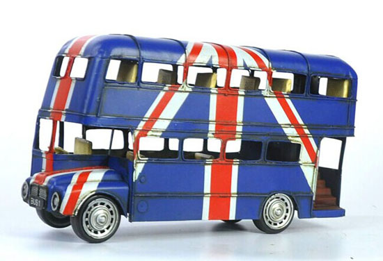 Large Scale Deep Blue Vintage Tinplate London Double-Decker Bus
