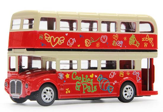 Kids Red Flower Patterns Die-Cast London Double-Decker Bus Toy