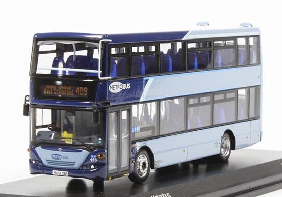 Blue 1:76 Scale CMNL Die-Cast SCANIA Double-Decker Bus Model