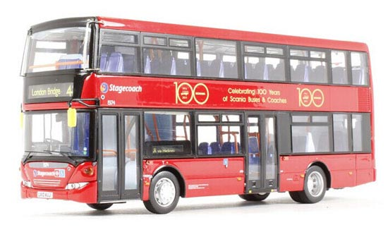 Red 1:76 Scale CMNL Scania Souvenir Edition Double-Deck Bus